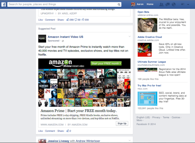 Facebook Native Advertising Example