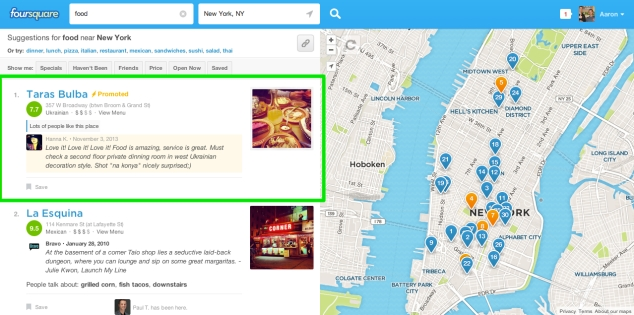Foursquare Native Advertising Example