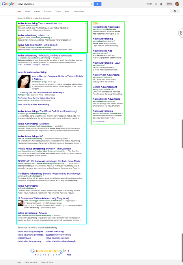 Google Search Native Advertising Example